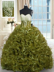 Wonderful Olive Green Lace Up Sweetheart Beading and Ruffles Vestidos de Quinceanera Organza Sleeveless Brush Train