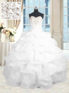 White Organza Lace Up Sweetheart Sleeveless Floor Length Sweet 16 Quinceanera Dress Beading and Ruffles