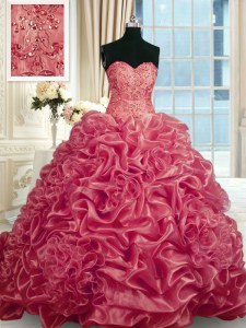 Customized Red Sleeveless With Train Beading and Pick Ups Lace Up Quinceanera Gown