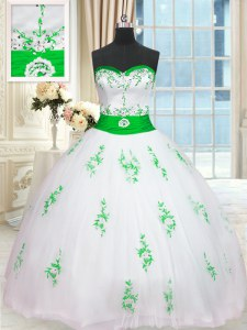 Pretty Sleeveless Floor Length Appliques and Belt Lace Up Ball Gown Prom Dress with White
