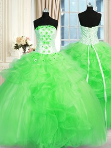 Glamorous Ball Gown Prom Dress Military Ball and Sweet 16 and Quinceanera and For with Pick Ups and Hand Made Flower Strapless Sleeveless Lace Up