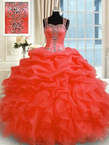 Red Ball Gowns Straps Sleeveless Organza Floor Length Zipper Beading and Ruffles Vestidos de Quinceanera