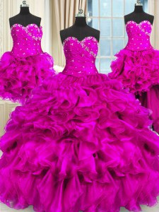Four Piece Fuchsia Three Pieces Sweetheart Sleeveless Organza Floor Length Lace Up Beading and Ruffles and Ruching 15th Birthday Dress