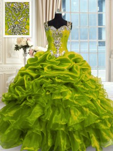 Fabulous Floor Length Ball Gowns Sleeveless Olive Green Quince Ball Gowns Lace Up