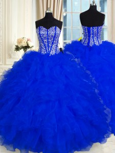 Floor Length Royal Blue 15th Birthday Dress Sweetheart Sleeveless Lace Up