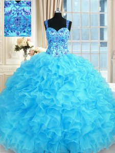 Baby Blue Quinceanera Dresses Military Ball and Sweet 16 and Quinceanera and For with Embroidery and Ruffles Straps Sleeveless Lace Up