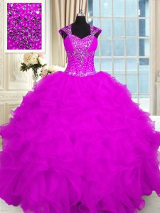 Fuchsia Organza Lace Up Straps Cap Sleeves Floor Length 15th Birthday Dress Beading and Ruffles