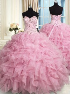 Organza Sweetheart Sleeveless Lace Up Beading and Ruffles 15 Quinceanera Dress in Rose Pink