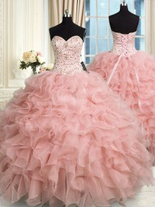 Organza Sweetheart Sleeveless Lace Up Beading and Ruffles Ball Gown Prom Dress in Baby Pink