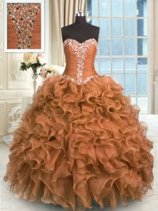 Admirable Brown 15 Quinceanera Dress Military Ball and Sweet 16 and Quinceanera and For with Beading and Ruffles Sweetheart Sleeveless Lace Up