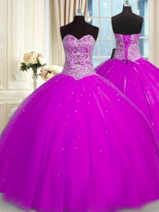 Organza Sweetheart Sleeveless Lace Up Beading and Sequins Quince Ball Gowns in Fuchsia