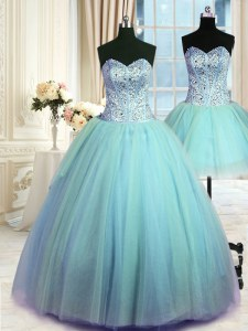Three Piece Beading Sweet 16 Dresses Blue Lace Up Sleeveless Floor Length