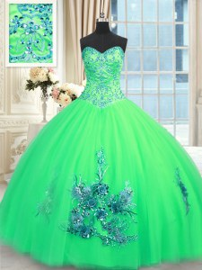 Deluxe Turquoise Tulle Lace Up Sweetheart Sleeveless Floor Length Quinceanera Dresses Beading and Appliques and Embroidery
