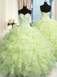 Romantic Yellow Green Sweetheart Lace Up Beading and Ruffles 15 Quinceanera Dress Sleeveless