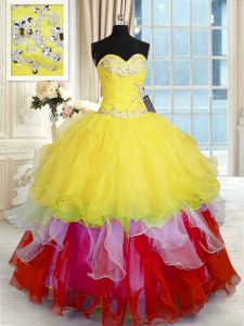 Floor Length Lace Up Quinceanera Gowns Multi-color for Military Ball and Sweet 16 and Quinceanera with Beading and Ruffles