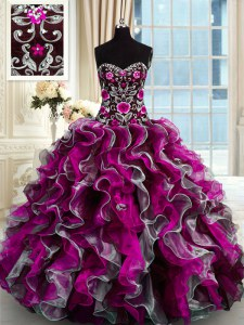 Simple Multi-color Sweetheart Lace Up Beading and Appliques Quinceanera Gowns Sleeveless