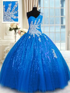 Ideal Blue One Shoulder Neckline Appliques Quinceanera Dresses Sleeveless Lace Up