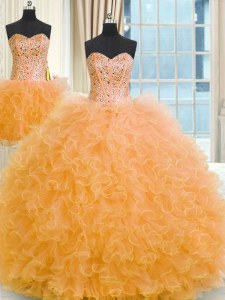 Three Piece Orange Sleeveless Floor Length Beading and Ruffles Lace Up Quinceanera Gowns