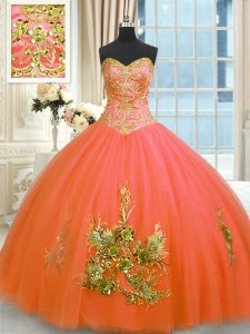 Orange Red Sleeveless Beading and Appliques and Embroidery Floor Length 15th Birthday Dress