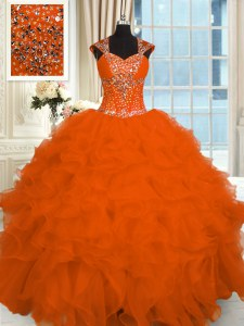 Orange Red Straps Neckline Beading and Ruffles Ball Gown Prom Dress Cap Sleeves Lace Up