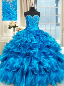 Custom Design Baby Blue Lace Up Quinceanera Dress Beading and Ruffles Sleeveless Floor Length