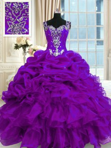 Sleeveless Lace Up Floor Length Beading and Ruffles and Pick Ups Quince Ball Gowns