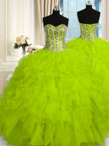 Exquisite Yellow Green Organza Lace Up Quinceanera Gowns Sleeveless Floor Length Beading and Ruffles