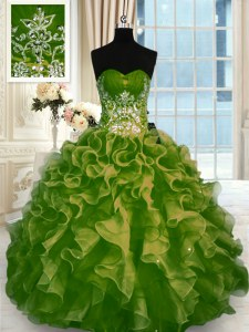 Sexy Organza Sleeveless Floor Length Quinceanera Dresses and Beading and Ruffles