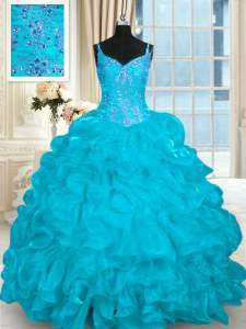 Discount Aqua Blue Lace Up Spaghetti Straps Beading and Embroidery and Ruffles Vestidos de Quinceanera Organza Sleeveless Brush Train