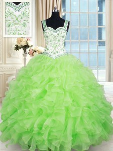 Yellow Green Ball Gowns Straps Sleeveless Organza Floor Length Lace Up Beading and Ruffles Quinceanera Gown