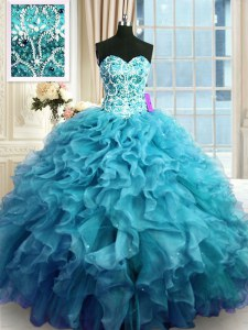 Sophisticated Beading and Ruffles Ball Gown Prom Dress Teal Lace Up Sleeveless Floor Length
