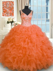 Designer Sleeveless Floor Length Beading and Ruffles Zipper Sweet 16 Quinceanera Dress with Orange Red