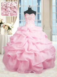 Unique Pink Quince Ball Gowns Military Ball and Sweet 16 and Quinceanera and For with Beading and Ruffles Sweetheart Sleeveless Lace Up