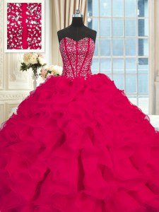 Best Selling Sweetheart Sleeveless Brush Train Lace Up Quinceanera Dress Red Organza