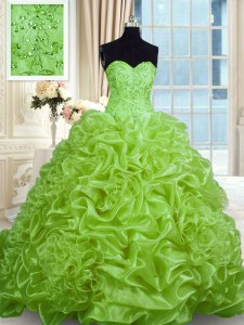 Admirable With Train Lace Up Sweet 16 Dresses for Military Ball and Sweet 16 and Quinceanera with Beading and Pick Ups Sweep Train
