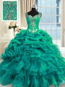 Stylish Turquoise Organza Lace Up Quince Ball Gowns Sleeveless Floor Length Beading and Ruffles and Pick Ups