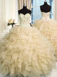 Champagne Sweetheart Neckline Beading and Ruffles Quinceanera Dress Sleeveless Lace Up