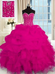 Fuchsia Sleeveless Floor Length Beading and Ruffles Lace Up Sweet 16 Dresses