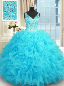Modern Baby Blue Ball Gowns V-neck Sleeveless Organza Floor Length Zipper Beading and Ruffles Sweet 16 Dresses