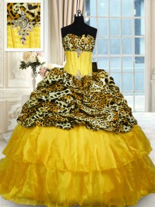 Printed Ruffled Ball Gowns Sleeveless Gold 15 Quinceanera Dress Sweep Train Lace Up