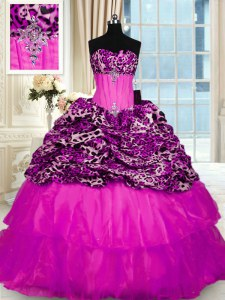 Shining Printed Fuchsia Ball Gown Prom Dress Military Ball and Sweet 16 and Quinceanera and For with Beading and Ruffled Layers and Sequins Strapless Sleeveless Sweep Train Lace Up
