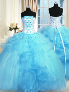 Fancy Pick Ups and Hand Made Flower Sweet 16 Dress Baby Blue Lace Up Sleeveless Floor Length