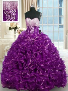 Purple Quinceanera Dress Military Ball and Sweet 16 and Quinceanera and For with Beading and Ruffles Sweetheart Sleeveless Brush Train Lace Up