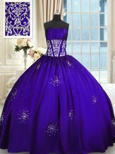 Stunning Purple Lace Up Quinceanera Dress Beading and Appliques and Ruching Sleeveless Floor Length