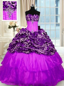 Printed Ruffled Purple 15th Birthday Dress Strapless Sleeveless Sweep Train Lace Up