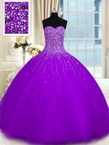 Discount Sleeveless Beading Lace Up Quince Ball Gowns