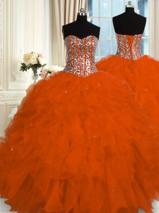 Beauteous Red Sweetheart Lace Up Beading and Ruffles Ball Gown Prom Dress Sleeveless