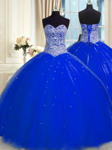 Sleeveless Tulle Floor Length Backless Quinceanera Dress in Royal Blue with Beading and Sequins