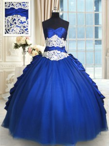 Royal Blue Sleeveless Floor Length Beading and Lace and Appliques and Ruffles and Pick Ups Lace Up 15th Birthday Dress