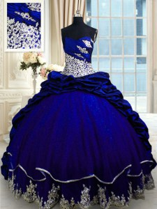 Royal Blue Sweetheart Neckline Beading and Appliques and Pick Ups Quinceanera Gowns Sleeveless Lace Up